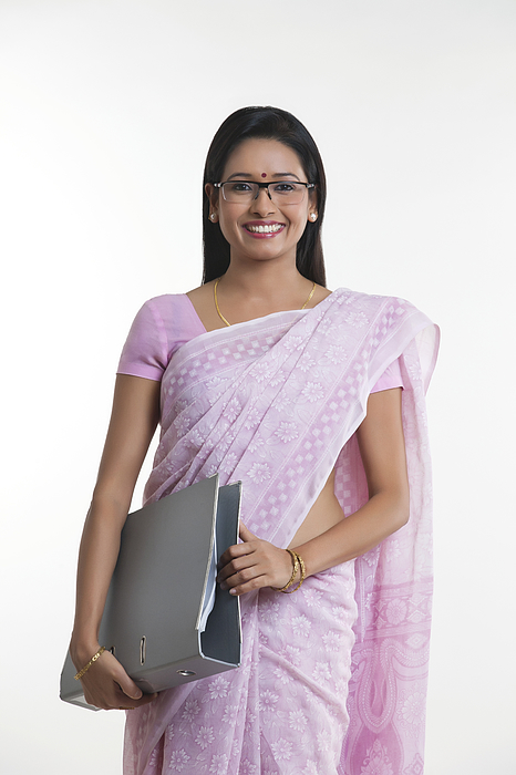 Portrait of woman with file smiling Photograph by Hemant Mehta