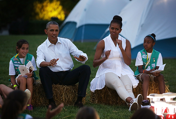 President, First Lady Host Girls Scouts At First-Ever White House Campout Photograph by Alex Wong
