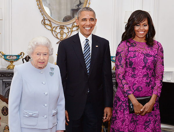 President Obama And The First Lady Lunch With The Queen And Prince Philip Photograph by WPA Pool