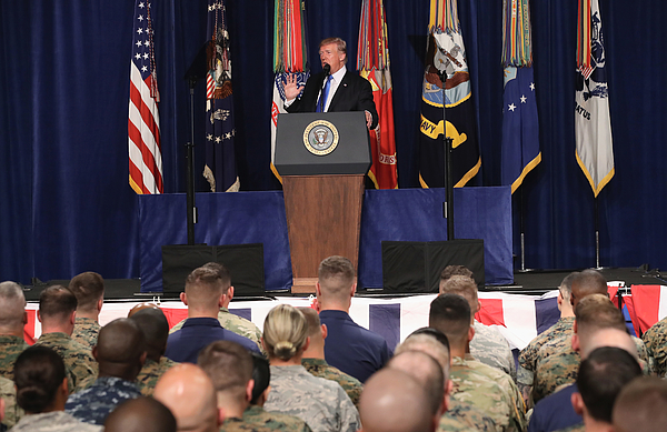 President Trump Addresses The Nation On Strategy In Afghanistan And South Asia From Fort Myer In Arlington Photograph by Mark Wilson