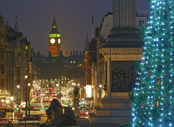 Traflager square at Christmas Photograph by Allan Baxter