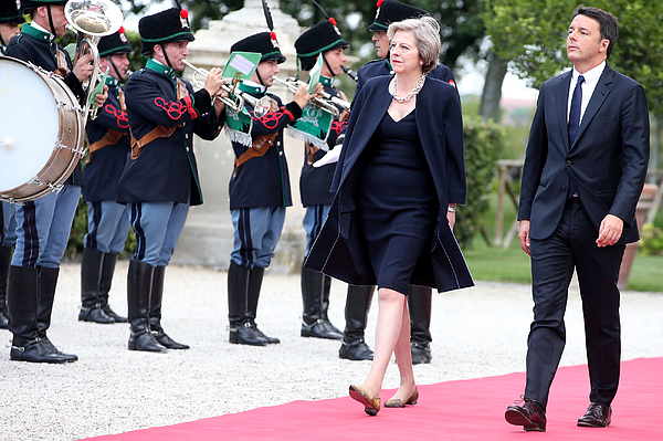 UK PM Theresa May Holds Talks With Italian PM Matteo Renzi Photograph by Franco Origlia