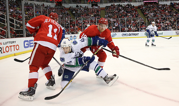 Vancouver Canucks v Detroit Red Wings Photograph by Leon Halip