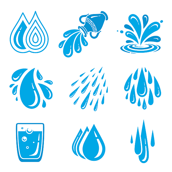 Water icons Drawing by GoodGnom