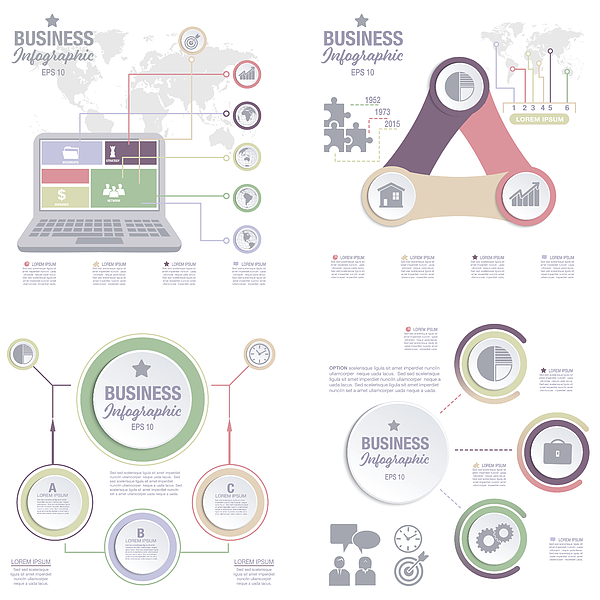 Business Infographic template With 3D Circles And Iocns Drawing by Diane555