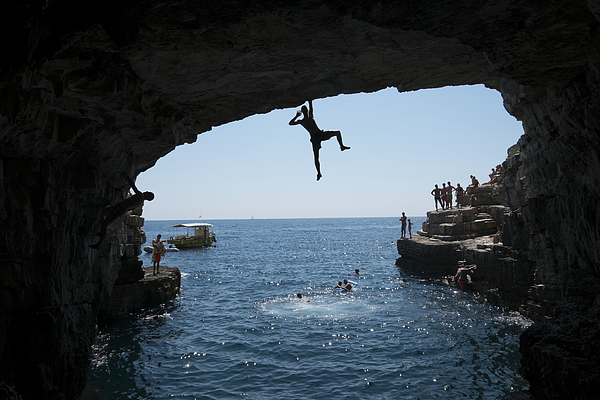 Deep-Water Soloing On Croatian Coast Photograph by Thomas Lohnes
