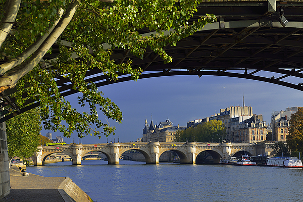 Europe France Paris quay at the height of the Pont des Arts Photograph by Auduciel