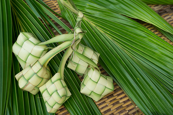 Ketupat, Kupat or Tipat is a type of dumpling made from rice packed inside a diamond-shaped container of woven palm leaf pouch. It is commonly found in Indonesia, Malaysia, Brunei and Singapore. Photograph by Shaifulzamri
