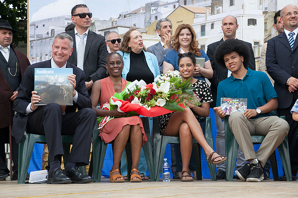 New York City Mayor Bill de Blasio Visits His Grandmothers Town Grassano And Receives Honorary Citizenship Photograph by Giovanni Marino