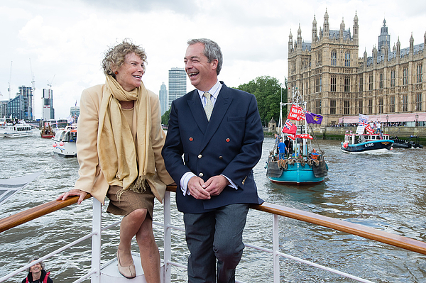 Nigel Farage Joins Fishing For Leave On A Flotilla Down The Thames Photograph by Jeff Spicer