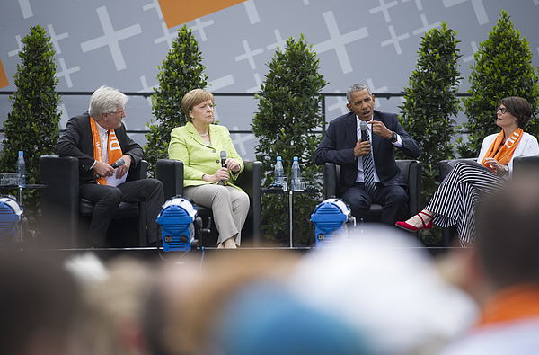 Obama And Merkel Discuss Democracy At Church Congress Photograph by Steffi Loos