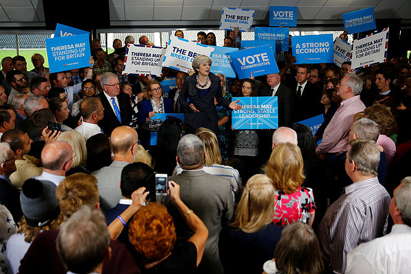 On The Campaign Trail With Theresa May As Election Enters Final Week Photograph by WPA Pool