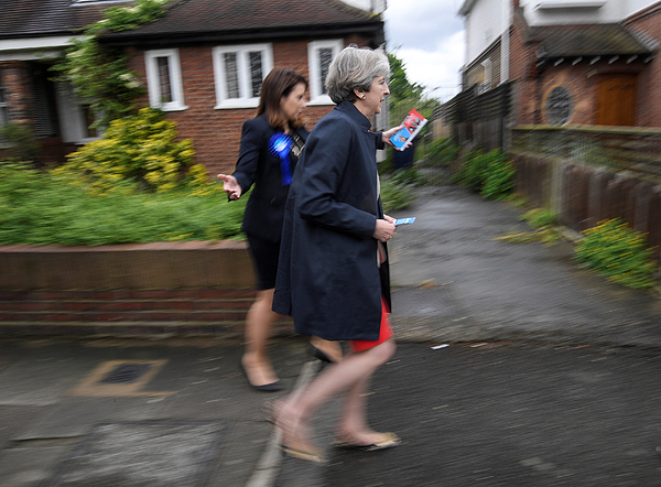 Theresa May Campaigns On The Conservative Battle Bus - Day Nine Photograph by WPA Pool