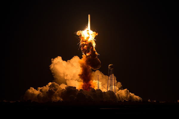 Unmanned Antares Rocket Explodes At Launch On Wallops Island Photograph by Nasa