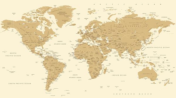 World Map Vintage Vector. Detailed illustration of worldmap Drawing by Pop_jop