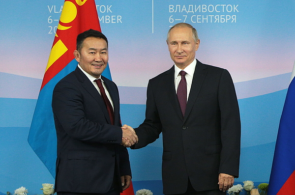 2017 Eastern Economic Forum: presidents of Russia and Mongolia meet Photograph by Sergei Bobylev