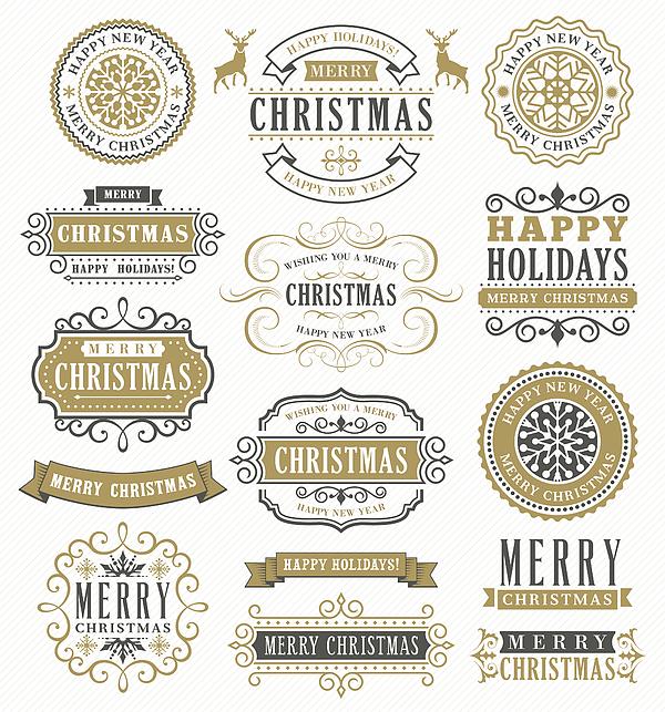 Christmas Vintage Badges Drawing by Artvea