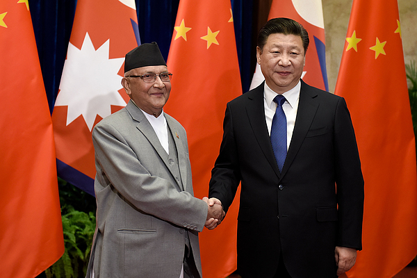 Nepal Prime Minister Khadga Prasad Sharma Oli Visits China Photograph by Etienne Oliveau