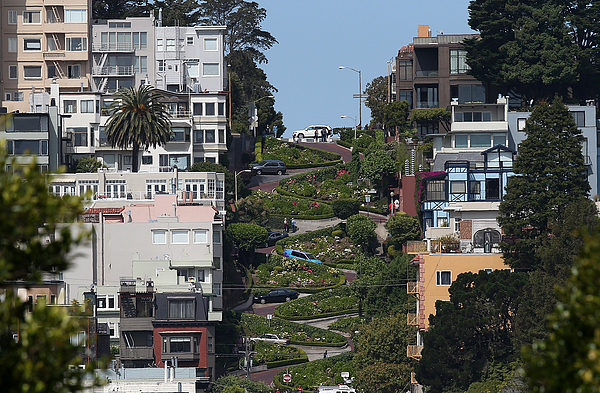 San Franciscos Famed Lombard Street Recoils From Heavy Tourism Photograph by Justin Sullivan