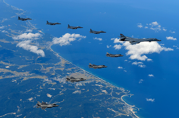 US Bombers Fly Near Military Demarcation Line Between Two Koreas Photograph by Handout