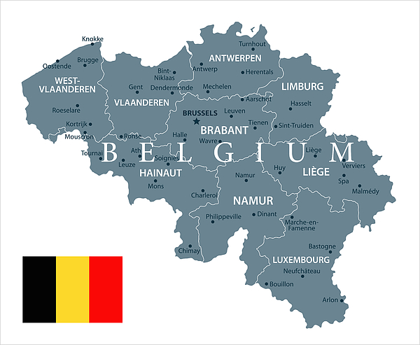 30 - Belgium - Grayscale Isolated 10 Drawing by Pop_jop