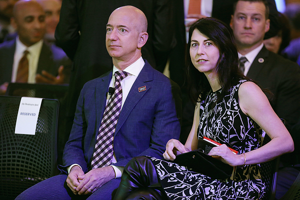 Jeff Bezos And John Kerry Attend Opening Ceremony For New Washington Post HQ Photograph by Chip Somodevilla