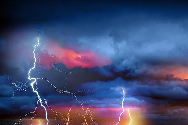 Lightning during summer storm Photograph by Slavica
