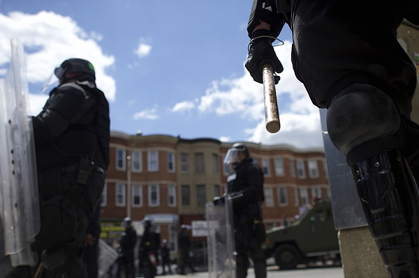 National Guard Activated to Calm Tensions In Baltimore In Wake Of Riots After Death of Freddie Gray Photograph by Mark Makela