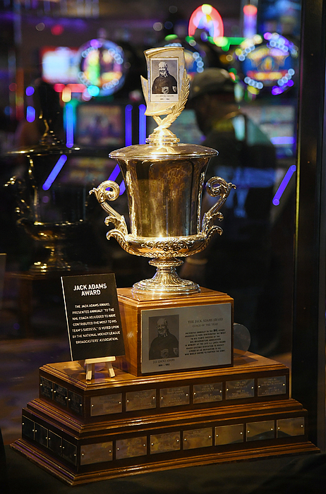 NHL Trophies Displayed At The Hard Rock Hotel & Casino Ahead Of The 2018 NHL Awards Photograph by Ethan Miller