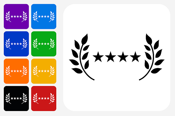 5 Star Service Icon Square Button Set Drawing by Bubaone