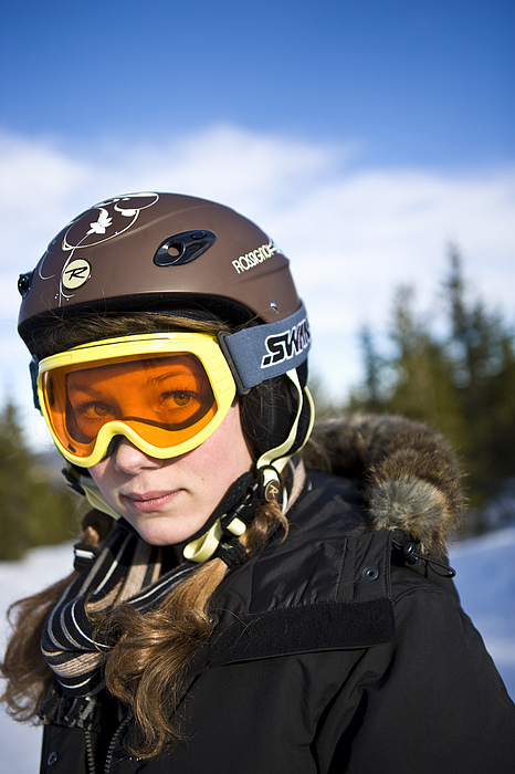 A girl wearing ski goggles Sweden. Photograph by Ulf Huett Nilsson