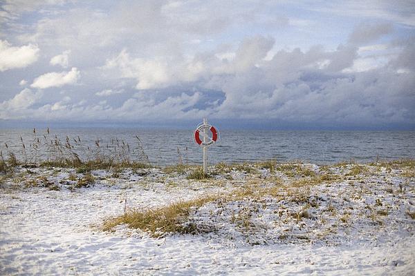 A snowy beach Gotland Sweden. Photograph by Johan Odmann