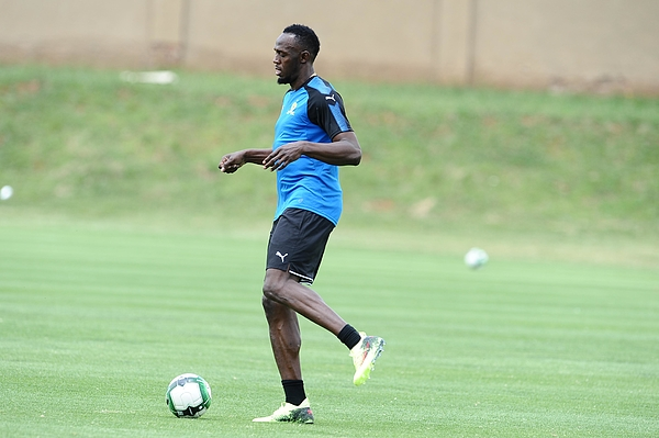 Absa Premiership: Usain Bolt Visit to Mamelodi Sundowns Training Session Photograph by Gallo Images