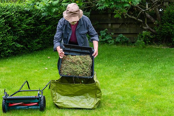Active senior man emptying a grass box Photograph by JohnFScott