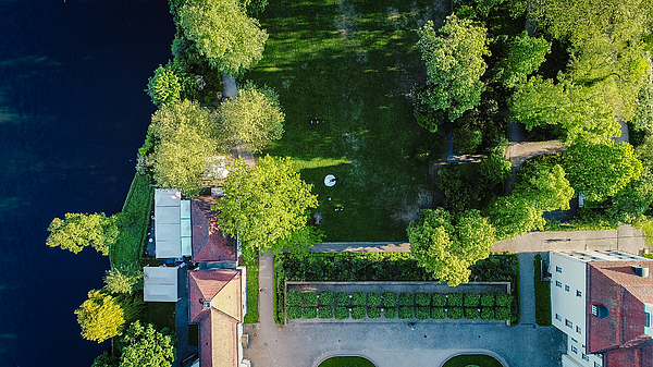 Aerial Drone Shot Of A Wedding Party Standing In The Grounds Of A Picturesque Building In Berlin, Germany Summertime Photograph by Morten Falch Sortland
