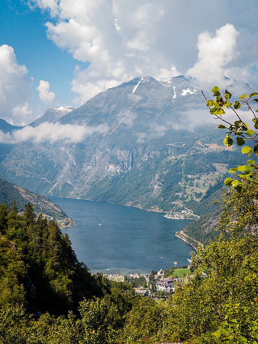 Aerial Drone Shot Of The Majestic Geirangerfjord, Norway Summertime Photograph by Morten Falch Sortland
