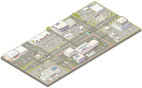 Aerial isometric retail zone Drawing by Mathisworks