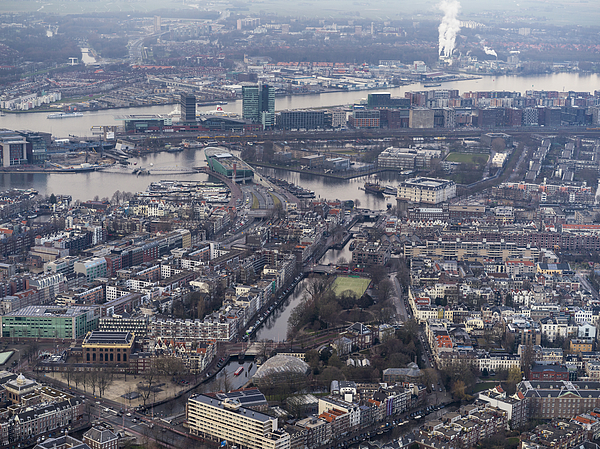 Aerial Of Amsterdam City Center With Rooftops And Canals Photograph by Nisian Hughes