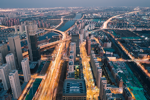 Aerial view of cityscape Photograph by Liyao Xie