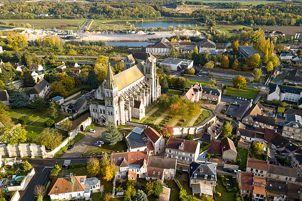 Aerial View Of The Priory Church Of Saint-leu-desserent Photograph by Gwengoat