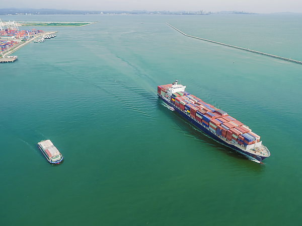 Aeriel View Container Shipping By Container Ship By Sea . Photograph by Anucha Sirivisansuwan