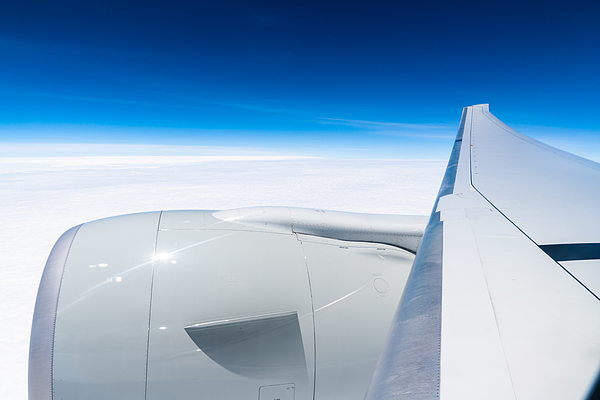 Airplane Wing Against Clear Blue Sky Photograph by Mauro Tandoi