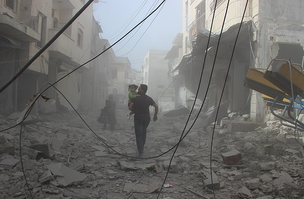 Airstrike kills 4 in Syrias Idlib Photograph by Anadolu Agency