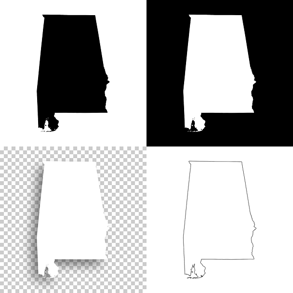 Alabama Maps For Design - Blank, White And Black Backgrounds Drawing by Bgblue