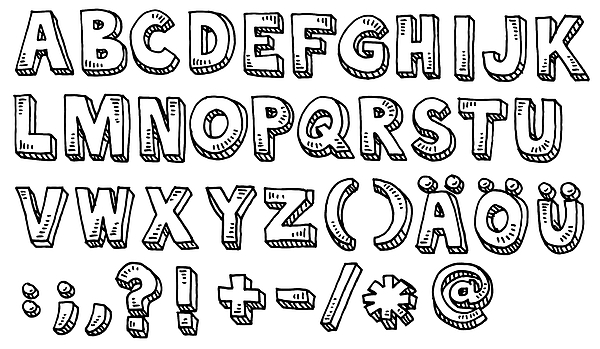 Alphabet Capital Letters And Special Characters Drawing Drawing by FrankRamspott