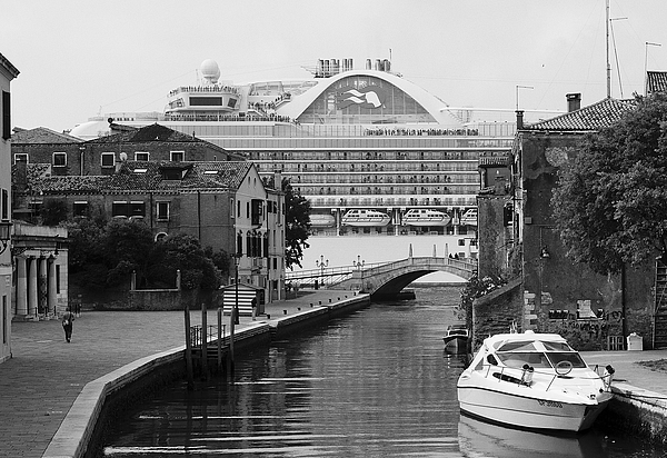 Alternative View - Cruise ships in Venice Photograph by Marco Secchi