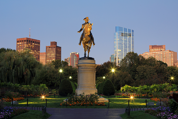 An Equestrian Statue Of George Washington In Bostons Public Garden Illuminated At Dusk Photograph by Rainer Grosskopf
