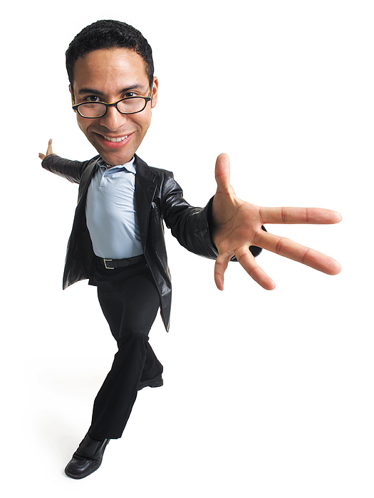 An Ethnic Man In Glasses A Blue Shirt Black Slacks And A Leather Jacket Takes A Step Forward And Extends His Arms And Hands Out Photograph by Photodisc