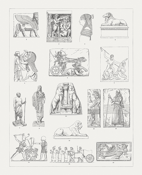 Ancient European And Middle East Sculptures, Wood Engravings, Published 1897 Drawing by Zu_09