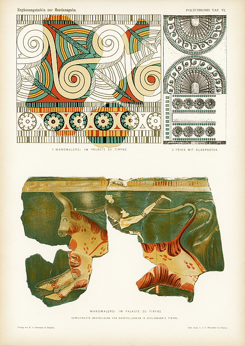 ancient Mycenaean frescos and frieze in Tiryns Drawing by NNehring